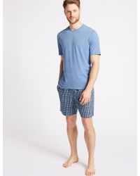 Marks & Spencer - Pure Cotton Checked Pyjama Shorts Set - Lyst