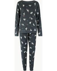 Marks & Spencer - Cotton Rich Cat Print Pyjama Set - Lyst