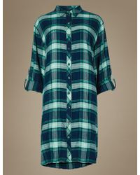 Marks   Spencer Checked Long Sleeve Nightshirt in Blue - Lyst e402d5ab3