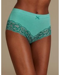 Marks & Spencer - Cotton Rich High Waisted Brazilian Knickers - Lyst