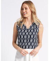 Marks & Spencer - Geometric Print V-neck Shell Top - Lyst