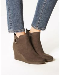 Marks & Spencer - Wide Fit Wedge Heel Side Zip Ankle Boots - Lyst