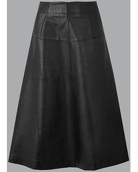 be7ea6b903 Marks & Spencer Leather A-line Midi Skirt in Yellow - Lyst