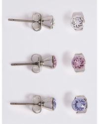 Marks & Spencer - 3 Pack Earrings With Swarovski® Crystals - Lyst