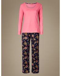 Marks & Spencer - Pure Cotton Floral Print Pyjama Set - Lyst