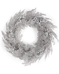 Marks & Spencer - Large Silver Glitter Wreath With Berries - Lyst