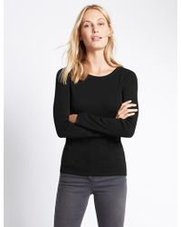 Marks & Spencer - Pure Cotton Round Neck Long Sleeve T-shirt - Lyst