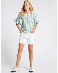 Marks & Spencer - Mid Rise Denim Shorts - Lyst