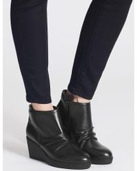 Marks & Spencer - Leather Wedge Heel Side Zip Ankle Boots - Lyst