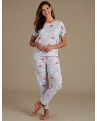 Marks & Spencer - Cotton Rich Cloud Print Pyjama Set - Lyst