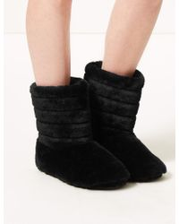 Marks & Spencer - Fur Striped Slipper Boots - Lyst