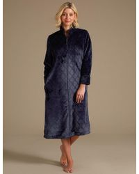 Marks & Spencer - Fleece Textured Long Sleeve Dressing Gown - Lyst