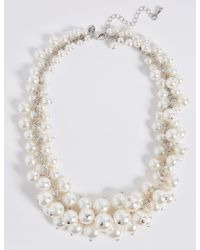 Marks & Spencer - Pearl Effect Cluster Necklace - Lyst