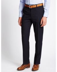 Marks & Spencer | Tailored Fit Wool Blend Flat Front Trousers | Lyst