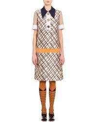 Marni - Mikado Dress With Tartan Print - Lyst