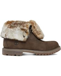 Timberland - Authentic Faux Fur Fold Down Leather Ankle Boot - Lyst