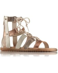 Sorel - Ella Lace Up Leather Galdiator Sandals - Lyst