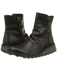 Fly London - Mong Leather Zip Up Wedge Ankle Boots - Lyst