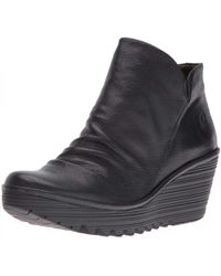 Fly London - Yip Leather Wedge Ankle Boots - Lyst