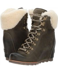 Sorel - Conquest Wedge Shearling Waterproof Ankle Boots - Lyst