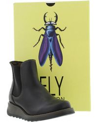 Fly London - Salv Black Leather Wedge Chelsea Boots - Lyst