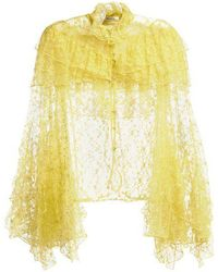Rodarte - Ruffle-trimmed High-neck Floral-lace Blouse - Lyst