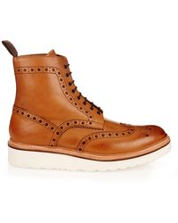 GRENSON | Fred Leather Brogue Boots | Lyst