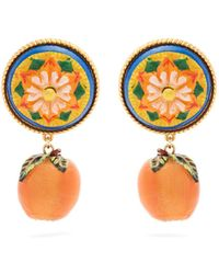 Dolce & Gabbana | Floral And Orange Drop Clip-on Earrings | Lyst