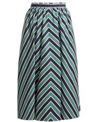 Fendi - Chevron-striped A-line Cotton Midi Skirt - Lyst