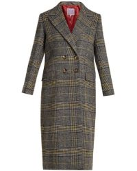 ALEXACHUNG - Long Double-breasted Checked Coat - Lyst