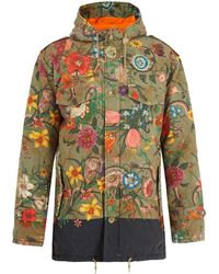 4ad1afe4061 Gucci - Floral Print Quilted Cotton Parka - Lyst