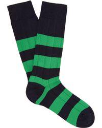 Pantherella Scott Nichol Ely Ribbed Knit Socks - Blue