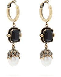 Alexander McQueen - Onyx And Pearl Drop Earrings - Lyst