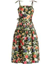Oscar de la Renta - Floral Print Silk And Cotton Blend Dress - Lyst