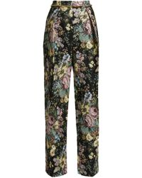 Preen By Thornton Bregazzi - Maggie Floral Jacquard Wide Leg Trousers - Lyst