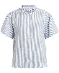 MASSCOB Tulum Ruffled Striped Cotton And Linen Blend Shirt