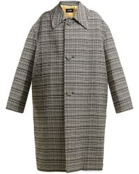 Raf Simons - Single Breasted Checked Coat - Lyst