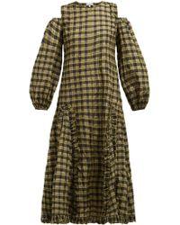 7055fcd8 Ganni - Charron Cold-shoulder Checked Dress - Lyst