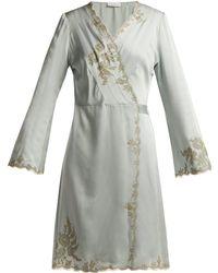 Carine Gilson - Lace-trimmed Silk-satin Kimono - Lyst