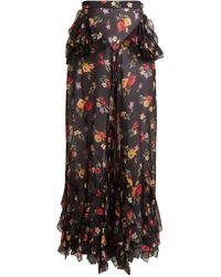 Rodarte - Floral-print Wide-leg Silk-blend Chiffon Trousers - Lyst