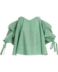 Caroline Constas - Gabriella Off-the-shoulder Gingham Top - Lyst