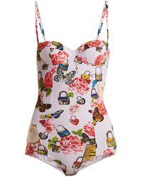 4872cd9d27 Lyst - Dolce   Gabbana Rose-print Balconette Swimsuit in Pink