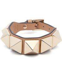 Valentino - - Rockstud Leather Bracelet - Womens - Pink - Lyst