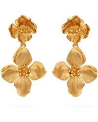 Oscar de la Renta - Gold-tone Clip Earrings - Lyst