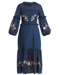 Vilshenko - Adeline Floral Embroidered Dress - Lyst