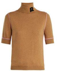 Rochas - - Logo Appliqué Cashmere Turtleneck - Womens - Brown Multi - Lyst