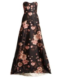 Rochas - Rose-print Bustier Satin Gown - Lyst