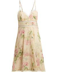 Zimmermann - Iris Floral Print Linen Blend Dress - Lyst
