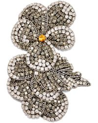 Rochas - Crystal Embellished Flower Brooch - Lyst