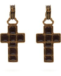 Gucci - Cross Drop Earrings - Lyst